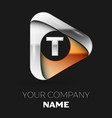 silver letter t logo in golden-silver triangle vector image vector image