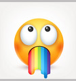 smiley emoticon with rainbow yellow face with vector image