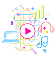 Symbols of listening to music on the computer on vector image