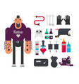 tattoo master and tattooing work tools flat vector image vector image