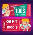 valentine s day gift voucher horizontal vector image vector image