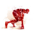 watercolor athlete on track starting to run vector image vector image