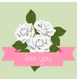 White roses with pink ribbon vector image vector image