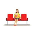 Woman In Cinema Room Alone With Popcorn And 3D vector image vector image