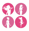 womens body silhouette icons vector image