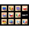 Flat flags icons of european countries vector image