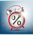 alarm clock with percent sign vector image