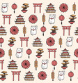 asian seamless pattern with umbrella cats bonsai vector image