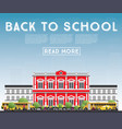 Back to school banner with school bus building