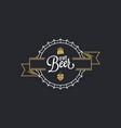 beer cap logo craft stamp on black vector image vector image