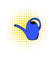 Blue watering can icon comics style vector image