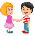 Cartoon their children holding hands vector image vector image