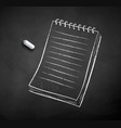 chalked notepad vector image vector image