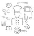 Chef with kitchen and food icons vector image vector image