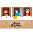Children On Window Happy Halloween vector image vector image