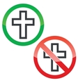 Christian cross permission signs set vector image vector image