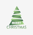 christmas tree paper cut with shadow green vector image vector image