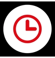 Clock flat red and white colors round button vector image