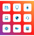 computer colorful icons set collection of file vector image vector image
