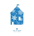 falling snowflakes house silhouette pattern frame vector image vector image