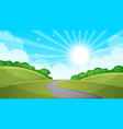 fence cartoon landscape sun road cloud sk vector image vector image