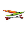 flat of two kayaks with oars on shore vector image vector image