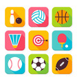 Flat Sport and Recreation Squared App Icons Set vector image vector image