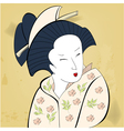 geisha on vintage background vector image vector image