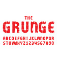 graunge fonts alphabet letter numbers vector image vector image