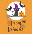 halloween card design with cat on broom vector image