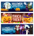 halloween pumpkins candies ghost bats and witch vector image vector image