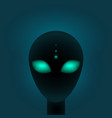 head alien with big green eyes sci-fi or vector image vector image