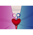 Heart with blue and pink background vector image
