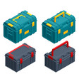 isometric square black and green toolbox vector image