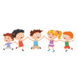 kids boys and girls plays and jump on white vector image vector image
