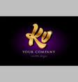 kv k v 3d gold golden alphabet letter metal logo vector image