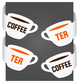 left and right side signs - coffee and tea vector image vector image