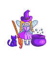 little witch fairy vector image vector image