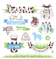 Milk and dairy products emblems set vector image