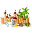 scene with knight and princess at castle vector image vector image