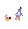 scene with mother pulling sled with kid on winter vector image vector image