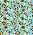 Seamless pattern with beer symbols on blue vector image