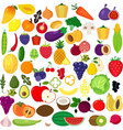set of fruits and vegetablesorganic food icons ve vector image vector image