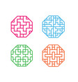 set of octagon korean pattern window frame vector image vector image