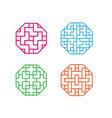 set of octagon korean pattern window frame vector image vector image