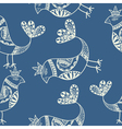 Silhouette of black ethnic birds Seamless pattern vector image