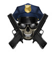 skull with sunglasses in a police cap and pistol vector image vector image