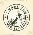 Stamp with map of New Zealand vector image vector image