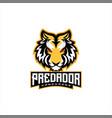 tiger head e sports logo design vector image