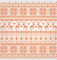 traditional red nordic pattern with deer vector image vector image